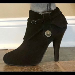 Unlisted Black Leather Upper Suede Bootie